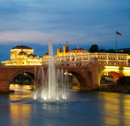 Macedonische s hoofdstad Skopje Oude stenen brug