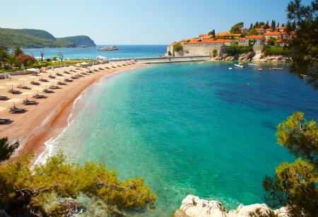 Beach near the island Sveti Stefan. Montenegro photo