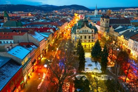 Avond uitzicht van Kosice, Slowakije