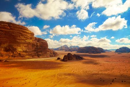 western background: Wadi Rum desert, Jordan Stock Photo