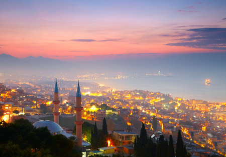Izmir at nighttime. View from Kadifekale