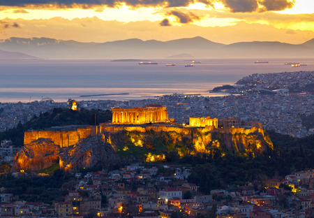 greece: Athens, Greece. After sunset. Parthenon and Herodium construction in Acropolis Hill