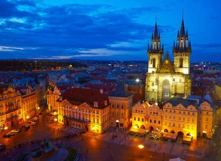 tyn: Town Square and Church of our Lady Tyn.   Prague, Czech Stock Photo