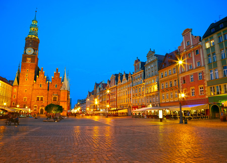 polska monument: The market square at night time. Wroclaw, Poland.