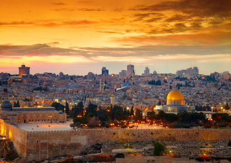 holy night: View to Jerusalem old city. Israel