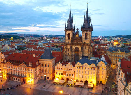 tyn: own Square and Church of our Lady Tyn. Prague, Czech Stock Photo