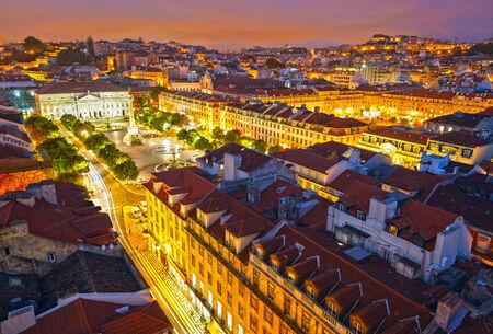 elevador: Rossio Square at night and Maria II Theatre. View from Santa Just elevador. Lisbon, Portugal