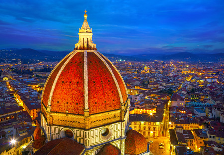 florence italy: View of the Cathedral Santa Maria del Fiore at dusk. Florence, Italy