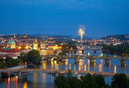 Prague after sunset with fireworks