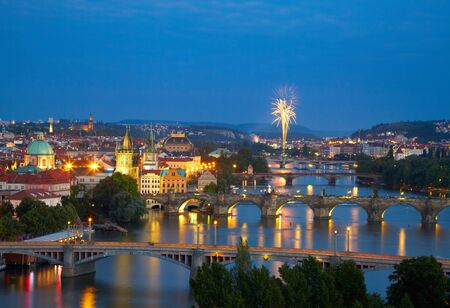 praha: Prague after sunset with fireworks Editorial