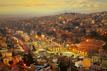 east asian culture: Night lights of Amman - capital of Jordan