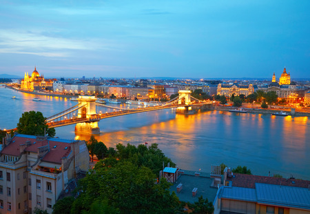 heritage site: Budapest, Hungary. Chain Bridge and the Parliament Stock Photo