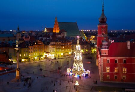 huge christmas tree: Christmas decorations in Warsaw, Poland. Stock Photo