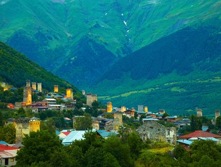 svaneti: Svan towers in Mestia. Svaneti, Georgia Stock Photo