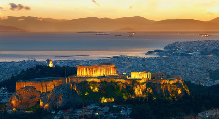 parthenon: Panorama of Athens, Greece. After sunset. Parthenon and Herodium construction in Acropolis Hill