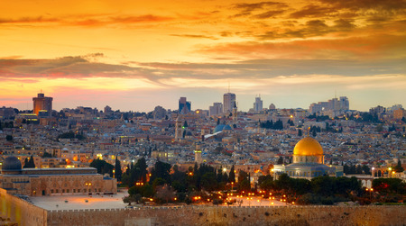 and israel: Panorama of Jerusalem old city. Israel Stock Photo