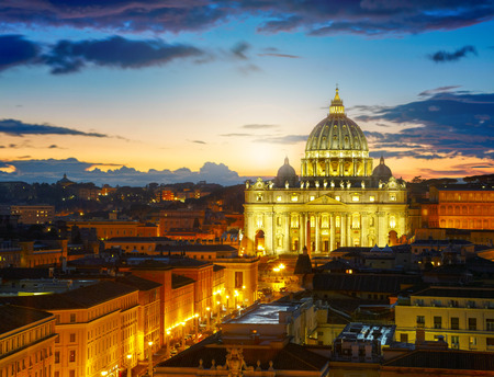pontiff: Rome, Italy. St. Peters cathedral in sunset lights