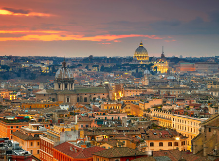 ancient rome: Wonderful view of Rome at sunset time with St Peter Cathedral Stock Photo