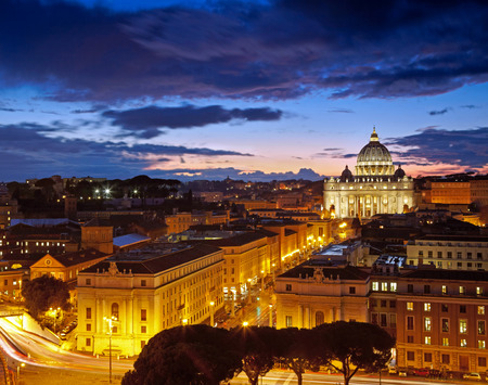 pontiff: Rome, Italy. St. Peters cathedral after sunset