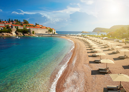 seaside town: Beach near the island Sveti Stefan. Montenegro