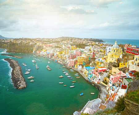 naples: View to fishermanns village on the Island Procida near Naples, italy
