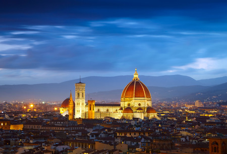 italy: After sunset view of Cathedral  Santa Maria del Fiore. Florence, Italy Stock Photo