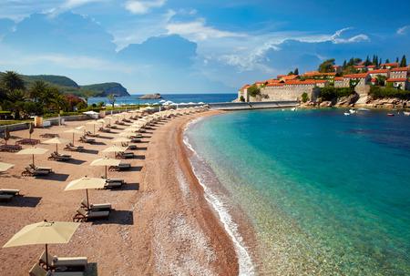 montenegro: Beach near the island Sveti Stefan. Montenegro