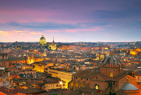 Wonderful view of Rome at sunset time with St Peter Cathedral Editorial