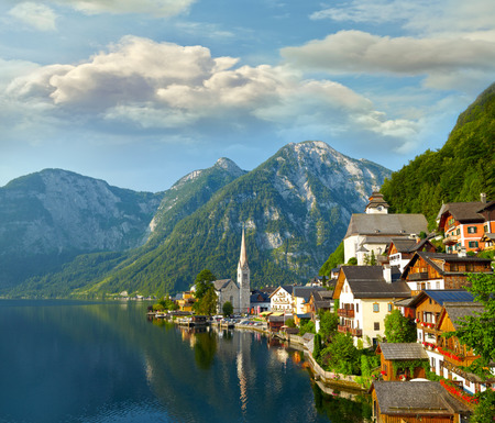 unesco world cultural heritage: Hallstatt  village and alpine lake in morning lights. Austrian Alps Stock Photo
