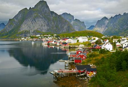 fishing huts: Reine fishing village. Lofoten Islands, Norway Stock Photo
