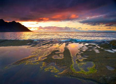 lake sunset: Sunset landscape of Northern Norway. Senja island