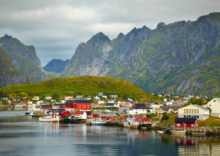 rorbuer: Reine fishing village. Lofoten Islands, Norway Stock Photo