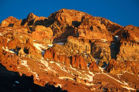 aconcagua: Aconcagua mountain in sunset lights
