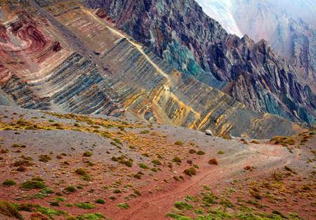 aconcagua: Color mountains in Aconcagua national park. Andes, Argentina