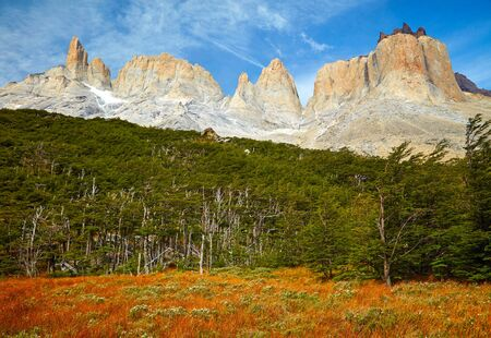 torres del paine: Torres del Paine national park.  Patagonia, Chile Stock Photo