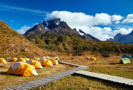 torres del paine: Camping in Torres del Paine national park.  Patagonia, Chile Stock Photo
