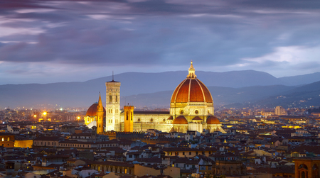 fiore: After sunset view of Cathedral  Santa Maria del Fiore. Florence, Italy Stock Photo