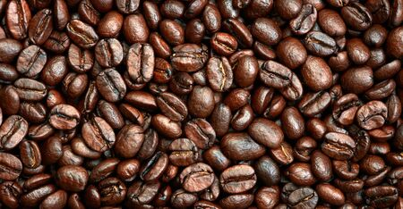 non alcoholic beverage: Roasted coffee beans background Stock Photo