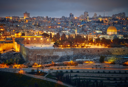 promised: Evening view to Jerusalem old city. Israel