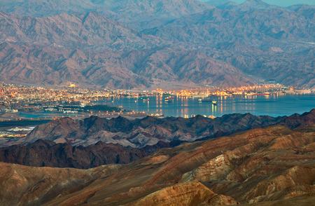 Evening view from Eilat mountains to aqaba gulf. Israel Standard-Bild
