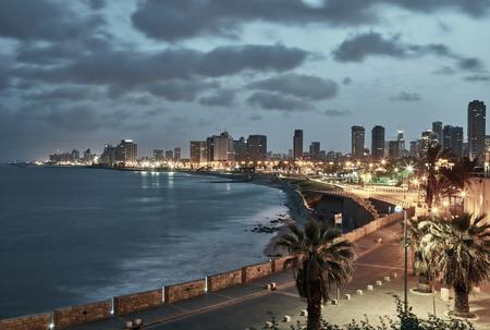 jaffa: Tel Aviv, Israel. After sunset view from Jaffa Stock Photo