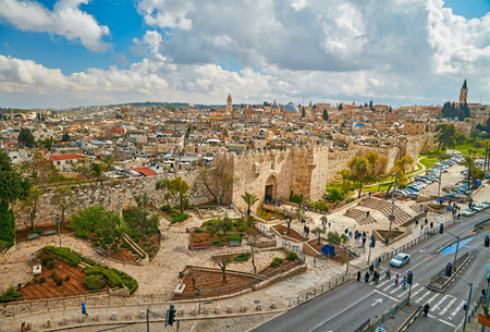 View to Damascus Gate and old Jerusalem City