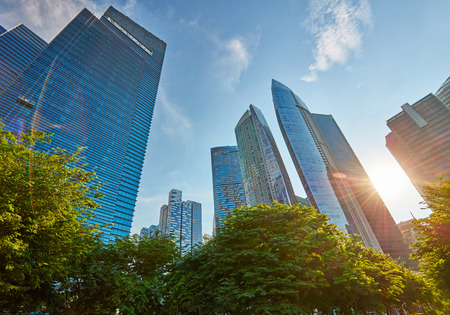 commercial district: Skyscrapers in central business district of Singapore Stock Photo