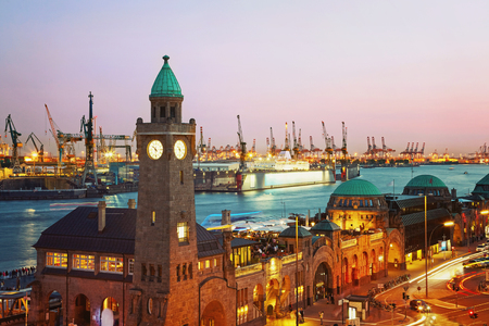 Hamburg harbour after sunset, Germany Stock Photo