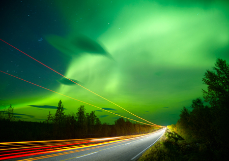auroral: Northern lights and traffic lights