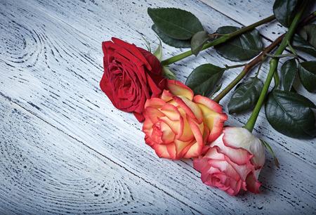 anniversario matrimonio: Tre rose su fondo in legno