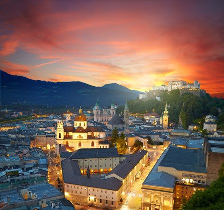 wolfgang: Sunset view of historic city of Salzburg, Austria