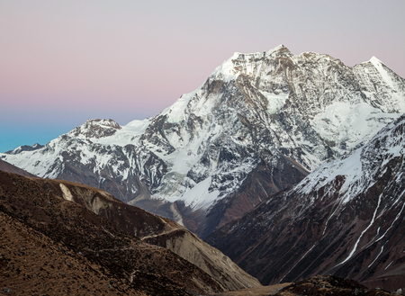 Himalayas mountains after sunset, Nepal Stock Photo