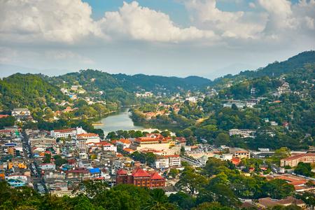 Panoramic view of Kandy city in Sri Lanka Stock Photo