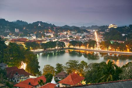 Night view of Kandy city in Sri Lanka Stock Photo